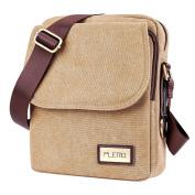 Plemo Unisex British Style Retro Casual Canvas Messenger Bag, Crossbody Shoulder Bag Fits 25cm Tablet