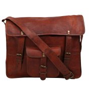 Desert Town Vintage Handmade Designer Genuine Leather Front Pocket Brown Briefcase Laptop Bag Business Bag