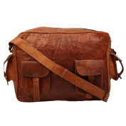 Desert Town Vintage Handcrafted Adjustable Strap Genuine Leather Brown Messenger Bag