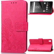 Roreikes Case Cover For Sony Xperia Z2 & # xFF0 °C; Leather Wallet Case, Wallet Case, Painting Flowers Butterfly Pattern PU Leather Case Flip Cover in Book Style Case Cover Stand Wallet Card Slot Folio Stand Case Cover Wallet for Sony Xperia Z2 - Grey