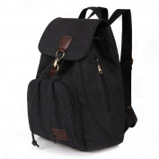 Women Ladies Retro Canvas Backpack, WITERY Vintage Design Trendy Rucksack Casual Travel Shoulder Bag / Portable Handbag / College Daypack Backpack / Computer Laptop Bags Black