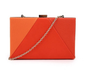 NEW WOMEN'S ANGULAR CONTRAST MATERIAL PANEL HADCASE BOX FAUX LEATHER CLUTCH HANDBAG