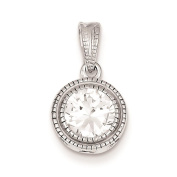 925 Sterling Silver Rhodium-Plated Polished CZ Circle Charm Pendant