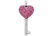 Sterling Silver 31.3x16 mm Pink Crystal Heart Key Pendant