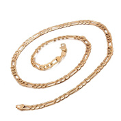 Romantic Time Gold Chain Figaro 18k Rose Gold Plated Necklace