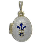 Fleur de Lis Royal Faberge Egg Pendant Necklace 48cm