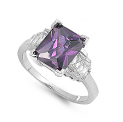 Baguette Sided Rectangular Simulated Amethyst Cubic Zirconia Ring Sterling Silver 925