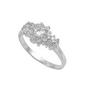 925 Sterling Silver Cubic Zirconia Designer Round Centre Ring 7MM