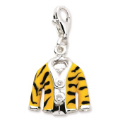 925 Sterling Silver Click-on CZ Enamel 3-D Tiger Jacket w/Lobster Clasp Charm - Amore La Vita Collection