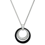 Amello stainless steel necklace double ring, black round ceramic ring and white circonia ring,17.71.to 50cm , original Amello ESKX17S