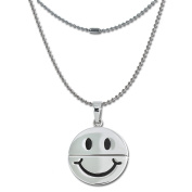 Amello Stainless steel necklace with a rotatable Smiley, Smiley can laugh or look sad, 60cm , original Amello ESK031W