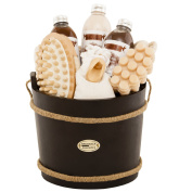 BRUBAKER Cosmetics Wooden Pail Spa Bath Gift Set 'Chocolate'