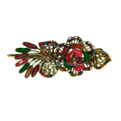 Beautiful Vintage Look Metal Barrette Hair Rhinestone & Acrylic Claw 7511