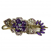 Beautiful Hair Barrette Vintage Look Metal Rhinestone Hair & Acrylic 7500