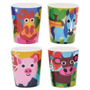 French Bull - BPA Free Kids Cups - 180ml Melamine Kids Juice Cup Set - Farm, Set of 4