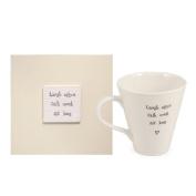 East of India Laugh Often Sit Long Mug in Wooden Gift Box, Porcelain/Wood