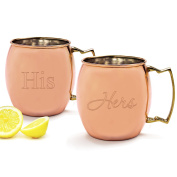 Cathy's Concepts His/Hers Moscow Mule Copper Mug with Polishing Cloth, Copper, Set of 2