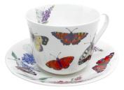 Roy Kirkham Breakfast Cup/Saucers, Butterfly Garden, Set of 2