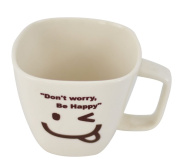 Southern Homewares 'Don't Worry Be Happy' Ceramic Tea Coffee Cup, Face 06, White