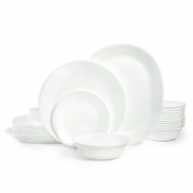 Corelle Livingware 38-Piece Dinnerware Set, Winter Frost White, Service for 12