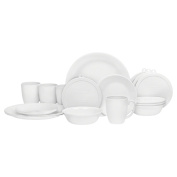 Corelle 20 Piece Livingware Dinnerware Set with Storage,Winter Frost White, Service for 4