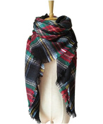 XJoel Large Tartan Checked Plaid Scarf Shawl for Womens