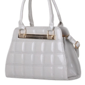 celebrity Style Patch Jewel Fashion Patent Skin Handbag Embossed Shoulder Bag Grey Quilted Bag for all occasion