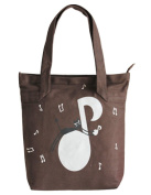 PartyErasers Music Themed Brown Tote Bag with black cat and music note