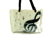 PartyErasers Music Themed . Horizontal Tote Bag - Canvas with Soft PVC layer Waterproof - White with black treble clef