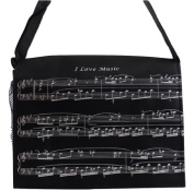 PartyErasers Music Themed Black I Love Music Musical Note Messenger/ crossbody Bag