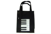 PartyErasers Music Themed Black Piano Keyboard Design tote Bag