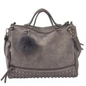 Women¡¯s Retro Rivet Totes Locomotive Handbag Shoulder Bags Light Grey