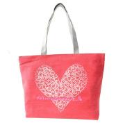 JJ Store Womens Canvas Heart Tote Shoulder Bag Shopping Tote Handbag