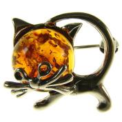 BALTIC AMBER AND STERLING SILVER 925 DESIGNER COGNAC CAT KITTEN ANIMAL BROOCH PIN JEWELLERY jewellery