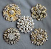 5 Rhinestone Brooch Gold X LARGE Pearl Crystal Wedding Bridal Brooch Bouquet Invitation Cake Decoration Napkin Ring BR119