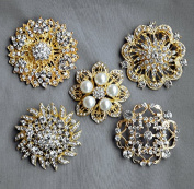 5 Rhinestone Brooch Gold X LARGE Pearl Crystal Wedding Bridal Brooch Bouquet Invitation Cake Decoration Napkin Ring BR120