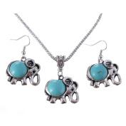 .  Turquoise Elephant Pendant & Drop Dangle Earrings Jewellery Set for Women