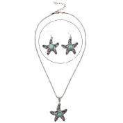 .  Turquoise Starfish Pendant & Drop Dangle Earrings Jewellery Set for Women