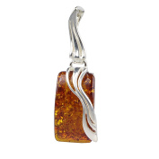 """Sterling Silver and Baltic Rectangle Amber Pendant """"Ewa"""""""