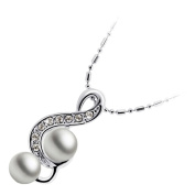 GWG Sterling Silver Plated Treble Clef with Clear Crystals and Pearl within Pendant Necklace for Women