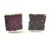 Sterling Silver Druzy Agate Pink Earring Studs, Square Gemstone 10mm - 1 pair