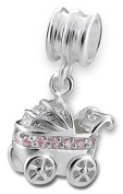 "Best Wing Jewellery .925 Sterling Silver ""Baby Carriage / w Pink Crystals"" Dangle Charm Bead"