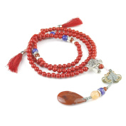 6mm 108 Beads Natural Cinnabar Buddhist Prayer Mala Necklace