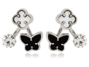 Cubic Zirconia and Flower, Butterfly Stud Earring in Three Colours by Lovey Lovey