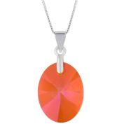 Sterling Silver Elements Orange Pink Pendant Necklace, 46cm