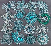 5 Teal Blue Turquoise Blue Rhinestone Brooch X Large Crystal Brooch Wedding Bridal Brooch Bouquet Cake Decoration Supply BR994