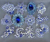 5 pcs Royal Dark Blue Rhinestone Brooch Embellishment X Large Crystal Wedding Bridal Brooch Bouquet Cake Decoration BR993