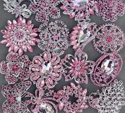 5 Pink Rhinestone Brooch Pink Back X LARGE Crystal Wedding Bridal Brooch Bouquet Invitation Cake Decoration Hair Comb BR990