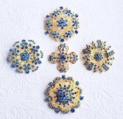 5 Rhinestone Brooch X LARGE Gold Crystal Brooch Light Blue Aqua Blue Wedding Brooch Bouquet Cake Decoration Napkin Ring BR303