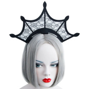 Da.Wa Black Lace Hollow Hair Hoop Party Great Crown HairBand Christmas Halloween Costume Accessories